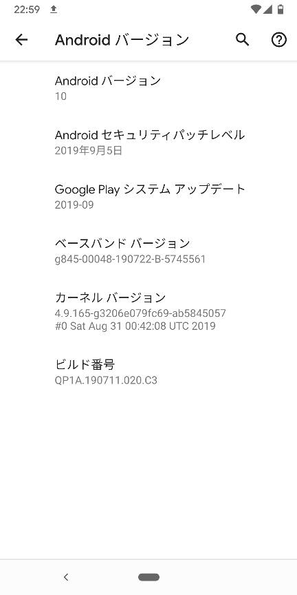OSバージョンの画面。Android10です。